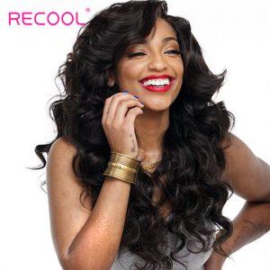 Recool Hair Brazilian Body Wave Virgin Hair Bundles 100% Human Hair Weave Bundles One Bundle Hair Extension Can Buy 3/4 Bundles