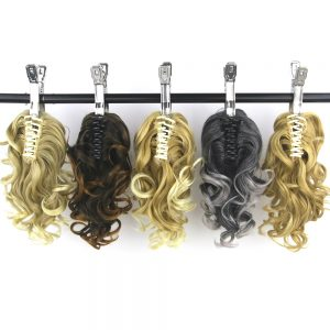 Soowee 8 Colors Short Curly High Temperature Fiber Synthetic Hair Little Pony Tail Blonde Claw Ponytail Clip In Hair Extensions