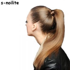 S-noilite US Stock Women Drawstring Long Straight Hair Extensions Piece Wrap Around Ponytail Multi-Colors Real Natural Synthetic