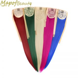 55cm straight synthetic Ponytail 18 colors white blonde green pink hair extensions Length Ribbon elastic drawstring MapofBeauty