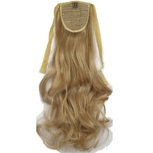 "TOPREETY Heat Resistant B5 Synthetic Fiber 18"" 45cm 90gr Body Wave Clip in Ribbon Ponytail hair extensions"