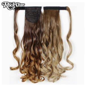 Rockstar Wigs 6Color Long Wavy Ombre Synthetic Ponytails High Temperature Fiber Brown Blond Hiarpiece