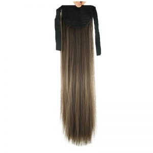Soloowigs Yaki Straight Women Long High Temperature Fiber Synthetic Hair 100g Tails 22inch/55cm Clip-in Bundled Ponytails
