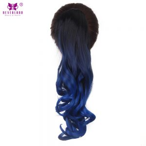 """Neverland 20"""" 50cm Wavy Synthetic Ombre Blue Black Clip in Hair Extensions Claw Ponytail Hairpieces"""