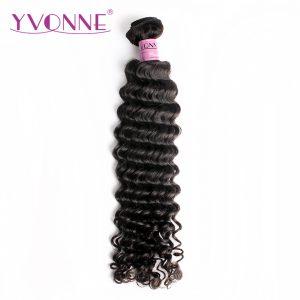 Yvonne Brazilian Deep Wave Virgin Hair 1 Piece Natural Color 100% Human Hair Weaving Free shipping