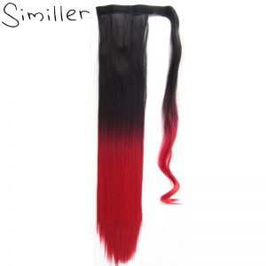 Similler Wrap Around Ponytail One Piece Clip In Straight Pony Tial Synthetic Hair Extensions 22inch 90g For Women Ombre