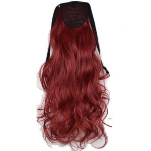 "TOPREETY Heat Resistant B5 Synthetic Fiber 18"" 45cm 90gr Wavy Clip in Ribbon Ponytail Extensions"