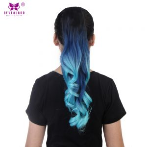 Neverland 20inch Women Claw Clip On Synthetic Ponytail Extensions 50CM Fake Wavy Ombre Rainbow Pony Tail Hair Piece 11 Colors