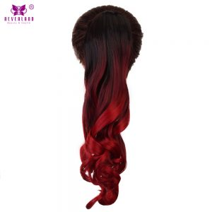 """Neverland 20"""" Wavy Claw Ponytail Clip In Hair Extensions Pony Tail Synthetic Hair Black Red Three Tone Ombre Color Cosplay Wig"""