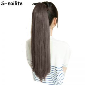 S-noilite Long Women Tie Up Ponytails Long Straight Hair Pieces Synthetic Hair Wrap on Hairpiece Clip In Ponytail Any Colors