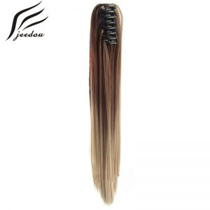 "jeedou Synthetic Plastic Claw Ponytails 22""170grams Women's Long Straight False Tail Clip On Hair Tail Extension 20 Colors"