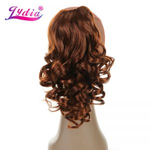 "Lydia 1PC Hair Extension 16"" Pure Color Curly Wave Synthetic Ponytails Claw Hairpieces Nature Tail Hair Pieces"