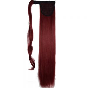 "TOPREETY Heat Resistant B5 Synthetic Fiber 22"" 55cm 90g Straight Wrap Around Clip in Ponytail Extensions"