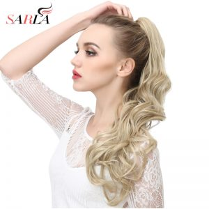 SARLA 1PC Wavy Long Claw In Ponytail Hair Extension Dual Use 160g Resistant High Temperature Hairpieces Synthetic P006