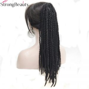 Strong Beauty African American Braids Braided Ponytail Black Synthetic Hairpiece Claw Clip on Extensions