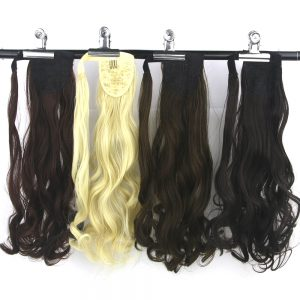 Soowee 10 Colors Synthetic Hair Ponytail Clip In Hair Extension Hairpiece Black Blonde Little Pony Tail with Hair Band