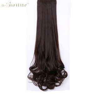 SNOILITE Synthetic Claw on Ponytail Clip in Pony Tail Hair Extensions one Piece Straight Style Hairpiece Black Brown Blonde