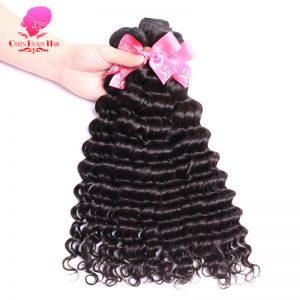 QUEEN BEAUTY HAIR Brazilian Virgin Hair Deep Wave 1 Piece Unprocessed Human Hair Bundles Weave Natural Color Hair Weft