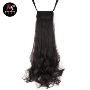 "Miss U Hair 18"" 45cm 110g Synthetic Ribbon Ponytail Long Curly Women Clip In Hair Extensions piece Ponytails"