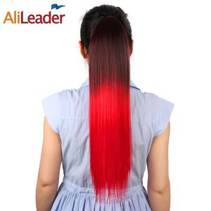 "AliLeader Long Straight Ombre Ponytail Extensions Wrap Around 100G 20"" 51CM Synthetic Clip On Ponytail Hairpieces 11 Colors"