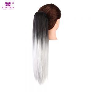 "Neverland 20"" Synthetic Straight Ombre Ponytail Extension Pony Tail Claw Clip Hair Extension Hair Pieces Black to Silver Grey"