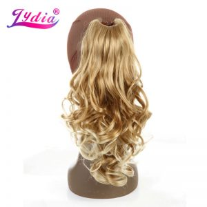 "Lydia 1PC Hair Extension 16"" Pure Color Blond Curly Wave Synthetic Ponytails Claw Hairpieces Nature Tail Hair Pieces"