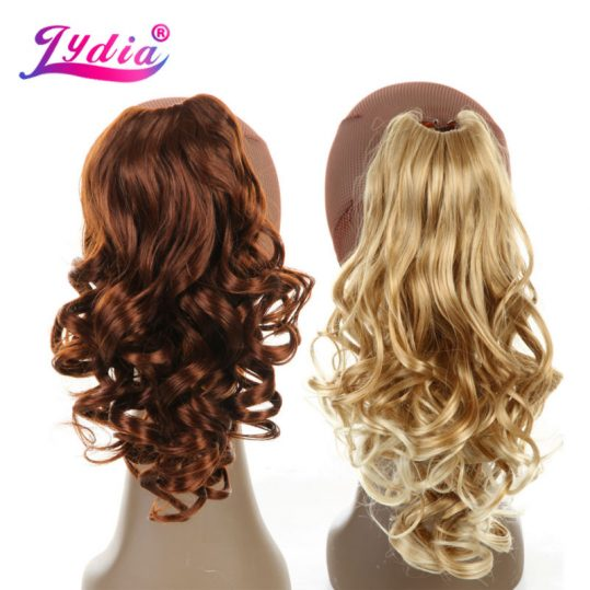 """Lydia 1PC Hair Extension 16"""" Pure Color Blond Curly Wave Synthetic Ponytails Claw Hairpieces Nature Tail Hair Pieces"""