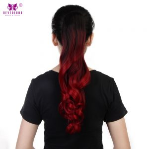 "Neverland 20"" Synthetic Ombre Wavy Style Claw Clip In Ponytail Hair Extension High Temperature Fiber Hair Pieces #1B/BUG/RED"