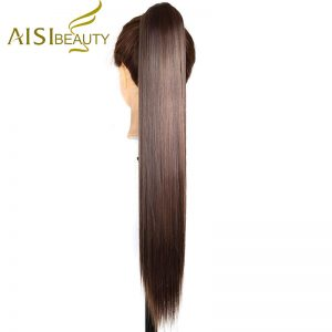 "AISI BEAUTY 26"" 210g High Temperature Fiber Hairpieces Long Straight Synthetic Claw Clip Ponytail Hair Extensions for Women"