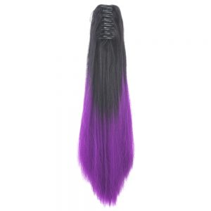 Soowee Straight Synthetic Hair Clip In Hair Extension Black To Purple Ombre Hair Claw Ponytail Hairpieces Pony Fairy Tail