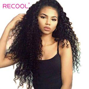 Recool Hair Deep Wave Brazilian Hair Weave Bundles 10-28 inch Virgin Hair Natural Black Color Can Buy 3/4 Human Hair Bundles