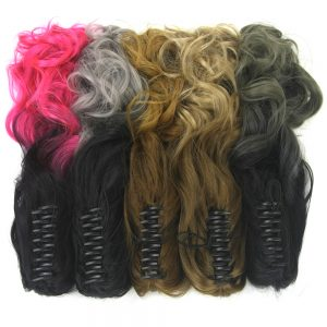 Soowee Long Curly Pink Ombre Claw Ponytail Synthetic Hair Clip In Hair Extensions Hairpiece Pony Tail Postiche Queue De Cheval