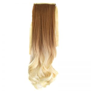 Soloowigs Loose Wave Women Long Synthetic Hair Style 22inch/55cm Two Tone Color One Clip-in Bundled Ponytails