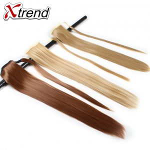 Xtrend 24inch Long Synthetic Straight Ponytails Clip in Hairpieces For Women Black Blonde High Temperature Fiber Hair Extensions