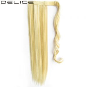 [DELICE] 22inch Women's Long Straight Clip In Synthetic Hair Ponytails Magic Tape Wrap On 90g/pc