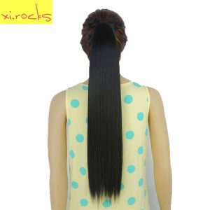 2 Piece Xi.rocks Synthetic Hair Ponytail 55cm Ribbon Clip Ponytails 90g Straight Hairpiece Tail Hair Extension Jet Black Color 1