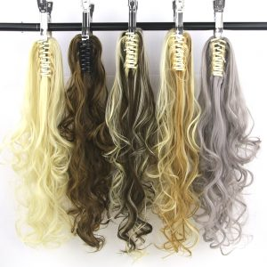 Soowee 15 Colors Long Red Gray Curly Synthetic Hair Clip In Hair Extensions Pony Tail High Temperature Fiber Claw Ponytail