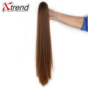 Xtrend 20inch Long Straight Hair Ponytails Claw Clip In Plastic Comb Synthetic Black Hairpieces For Women High Temperature Fiber