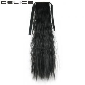 [DELICE] 55cm 135g/piece Thicker Clip In Long Kinky Curly Drawstring Ponytails Synthetic Hair Extension Piece