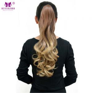 "Neverland Wavy Style Fake Hair Claw Ponytail Clip in Extension Synthetic Hair 180g 20"" Hairpiece Ombre Color Two Tones Pony Tail"