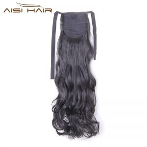 "I's a wig 21"" 110g High Temperature Fiber Long Wavy Synthetic Hair Pieces Drawstring Ponytail Extensions for Women"