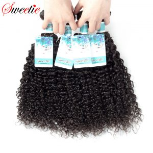 Sweetie Brazilian Virgin Hair Kinky Curly Wave 100% Human Hair Weave Extensions 1 Piece Only 100g Natural Black Free Shippping