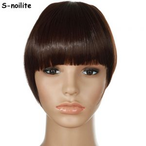 S-noilite Women Bangs Short Front Neat Clip in on Bang Fringe Hair Extensions Straight Synthetic Hairpiece Any Colors