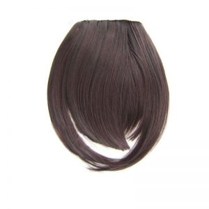 Soloowigs Natural Straight High Temperature Fiber 32 Colors Women Blunt Bangs With Temple
