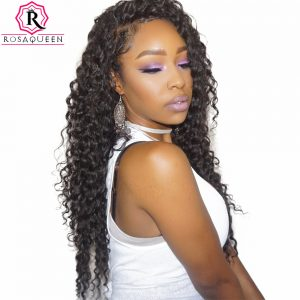 Deep Wave Brazilian Virgin Hair Extensions 100% Human Hair Weave Bundles Natural Black Color 1 Piece Rosa Queen Hair Products