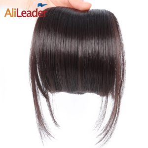 AliLeader Neat Front Clip In Hair Bang Extensions Short Straight Synthetic Hair False Fringe Hairpieces Black Brown Blonde