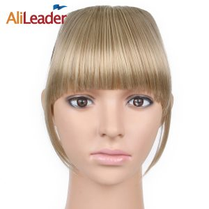 AliLeader Neat Front Fringe Clip On Bangs Hairpiece Black Brown Blonde Synthetic Bang Hair Extensions