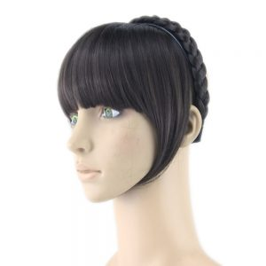 Soowee 8 Colors Synthetic Hair Fringe Black Blonde Hair Bangs with Braided Hair Clip Hairpieces Accessories