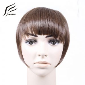 jeedou Synthetic Hair Bangs 2Clips Clip In Hair Extension 30g Black Brown Blonde 18Colors Side symmetry Fringe Bangs Hairpieces