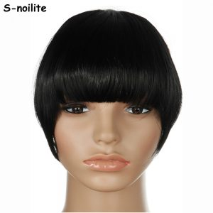 S-noilite US Stock Clip in False Bangs Neat Fringe Hair Extensions One Piece Staight Synthetic Black Brown Blonde Red